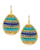 Beaded Teardrop Earrings, Blue