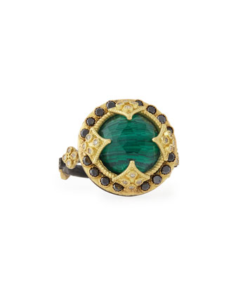 Malachite Blue Topaz & Black Diamond Ring