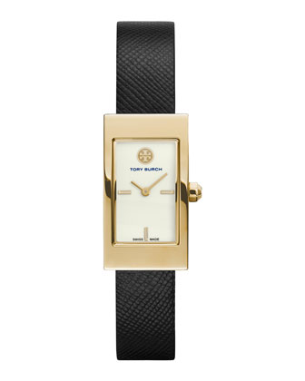 Buddy Signature Leather-Strap Golden Watch, Black