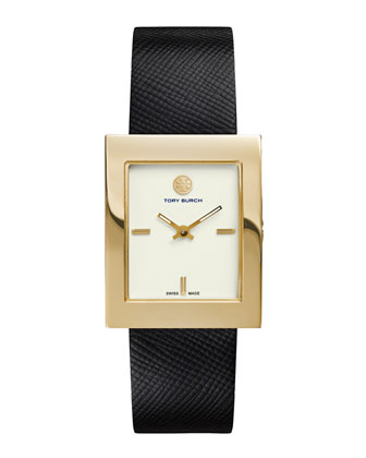 Buddy Classic Leather-Strap Golden Watch, Black
