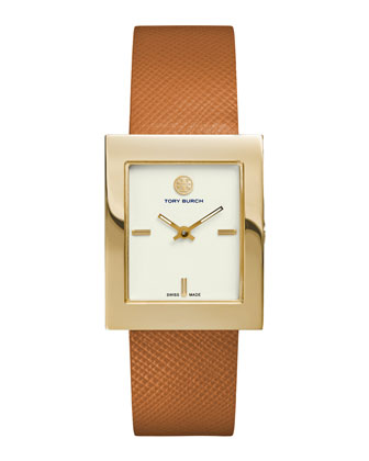 Buddy Classic Leather-Strap Golden Watch, Tan
