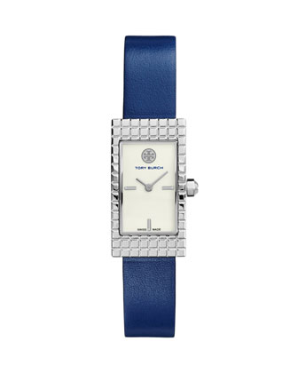 Buddy Signature Stainless Leather-Strap Watch, Navy
