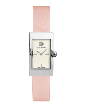 Buddy Signature Stainless Leather-Strap Watch, Pink