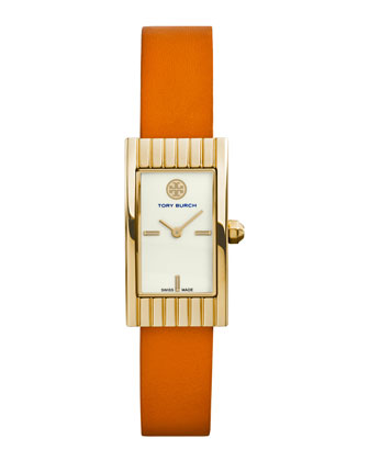 Buddy Signature Golden Leather-Strap Watch, Orange