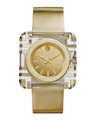 Izzie Leather-Strap Golden Watch