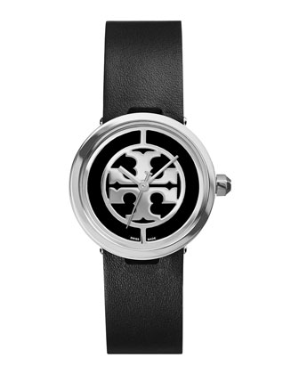 Reva Leather-Strap Stainless Watch, Black