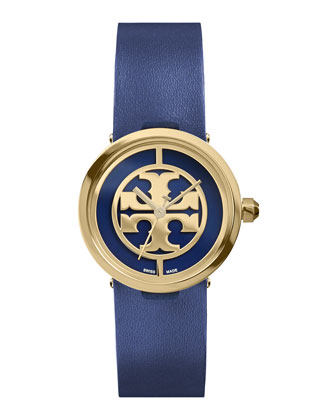 28mm Reva Leather-Strap Watch, Navy/Golden