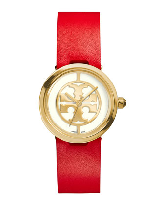 28mm Reva Leather-Strap Watch, Red/Golden