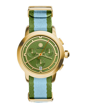 Tory Chronograph Fabric-Strap Watch, Green/Blue