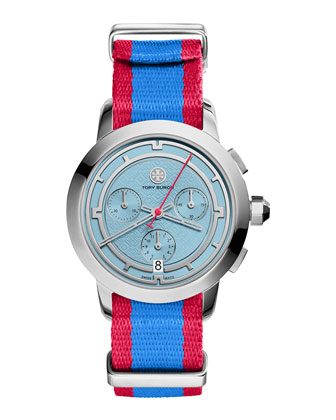 Tory Chronograph Fabric-Strap Watch, Blue/Red