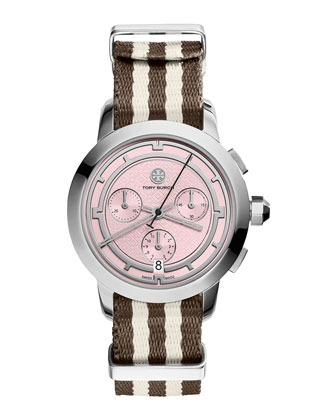 Tory Chronograph Fabric-Strap Watch, Brown/Pink