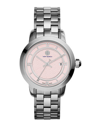 37mm Tory Stainless Steel Bracelet Watch, Light Pink/Silver