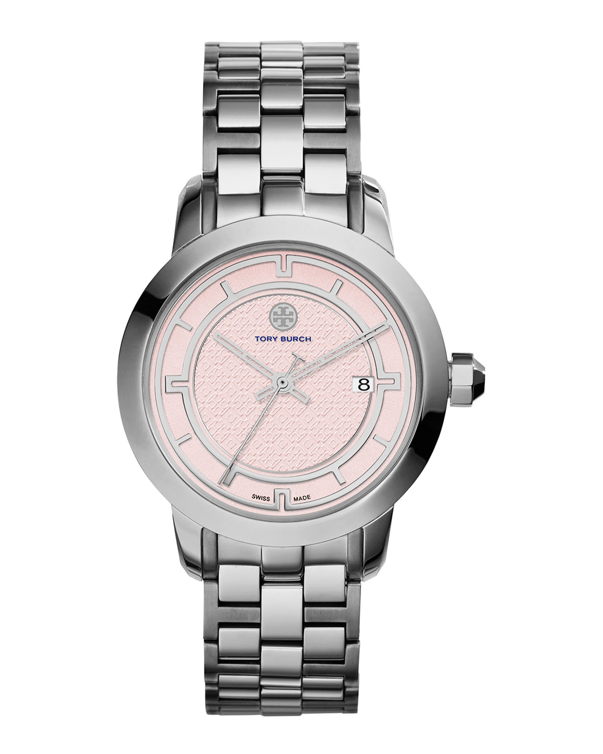 37mm Tory Stainless Steel Bracelet Watch, Light Pink/Silver - Tory Burch Watches