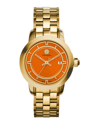37mm Tory Stainless Steel Bracelet Watch, Orange/Golden