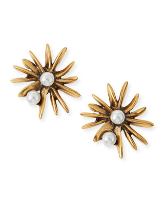 Starburst Pearly Button Clip-On Earrings