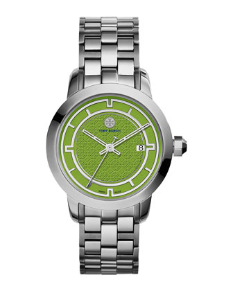 37mm Tory Stainless Steel Bracelet Watch, Green/Silver