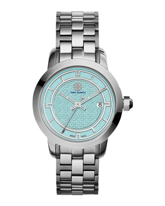 37mm Tory Stainless Steel Bracelet Watch, Light Blue/Silver