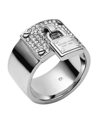 Silvertone Pave Padlock Ring
