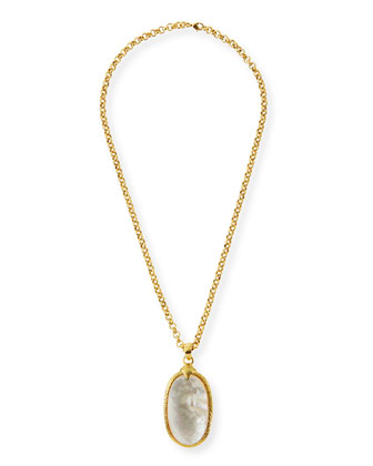 Mother-of-Pearl Oval Pendant Necklace
