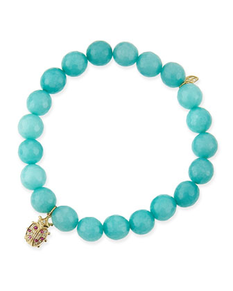 8mm Aqua Jade Beaded Bracelet with Ladybug Charm