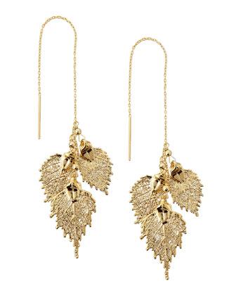 Golden Leaf Threader Earrings