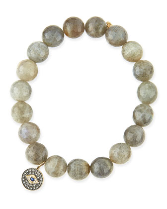 10mm Labradorite Beaded Bracelet with Evil Eye Charm
