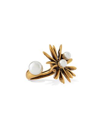 Starburst Simulated-Pearl Ring