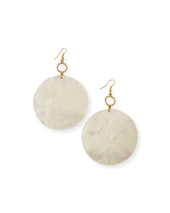 Round Mother-of-Pearl Disc Earrings