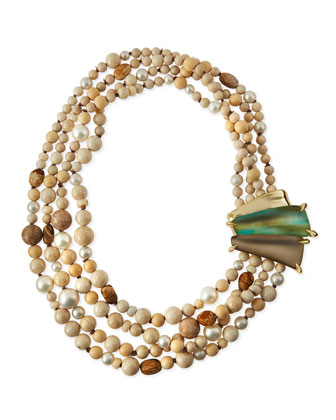 Multi-Strand Beaded Necklace with Lucite