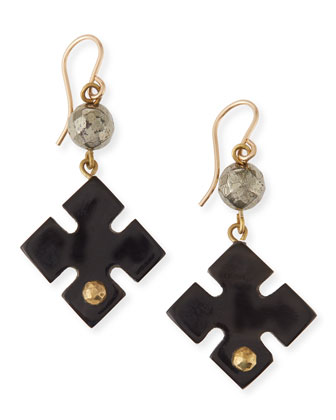 Vidogo Dark Horn Clover Drop Earrings