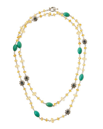 Citrine & Turquoise Flower Station Necklace