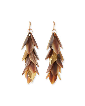Tanzu Layered Leaf Dangle Earrings, Light Horn