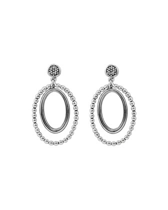 Silver Caviar Oval Twist Earrings