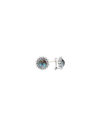 Maya Granulated Silver Abalone Earrings