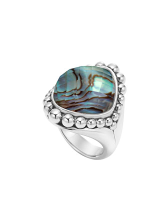 Maya Serpentine Abalone Dome Ring, Size 7