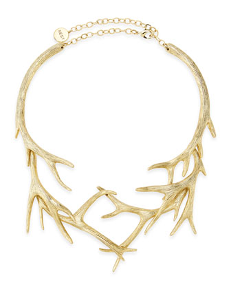 Gold Antler Collar Necklace