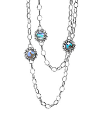 Silver Maya Abalone Chain Link Necklace