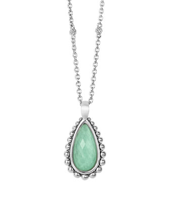 Silver Beaded Maya Variscite Teardrop Pendant Necklace