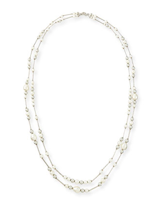 Double-Strand Simulated-Pearl Necklace