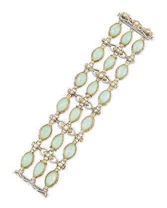 Sea Blue Agate & Pearl Bracelet