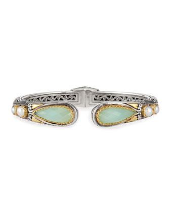 Sea Blue Agate-Tip Hinge Bracelet