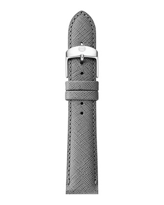 Deco Diamond Stainless Steel Watch Head & 18mm Gray Saffiano Leather Strap ...
