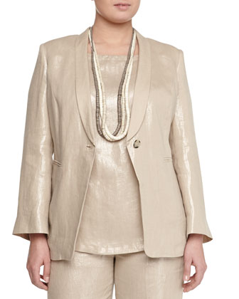 Corinne Shimmer One-Button Blazer, Jersey Tee, Straight-Leg Pants & Lato ...