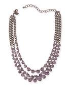Katharine Triple-Strand Crystal Necklace, Purple