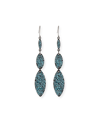 Kiss Crystal Triple-Drop Earrings, Aqua