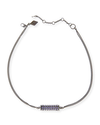 Crystal Barrel Necklace, Purple