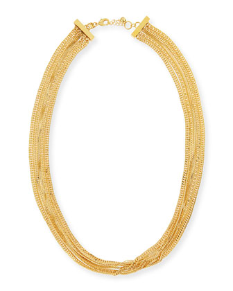 Long Multi-Strand Necklace, Gold-Plate