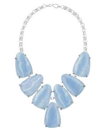 Harlow Necklace, Blue Lace Agate