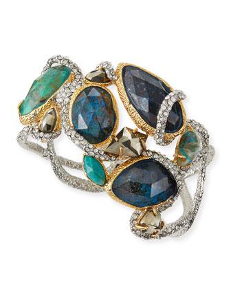 Asymmetric Crystal Vine Hinge Bracelet