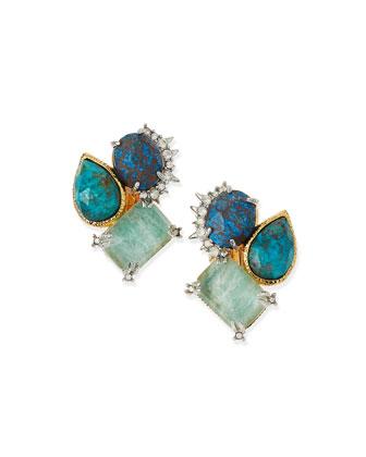 Amazonite Crystal Clip-On Stud Earrings